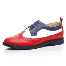 Cowhide leather Brand big discount Women casual concise street lady brogue shoes red blue fashion girl's leisure female shoes