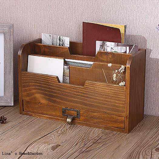 Antique Brown Wood Desktop Charging Station and Organizer