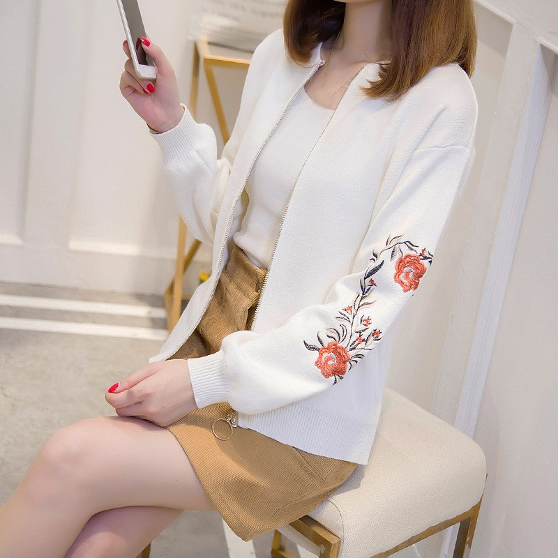 Floral Embroidered Bomber   Jacket   Women Autumn Flower Long Sleeve   Basic     Jacket   Female Lantern Sleeve Knitted Coat
