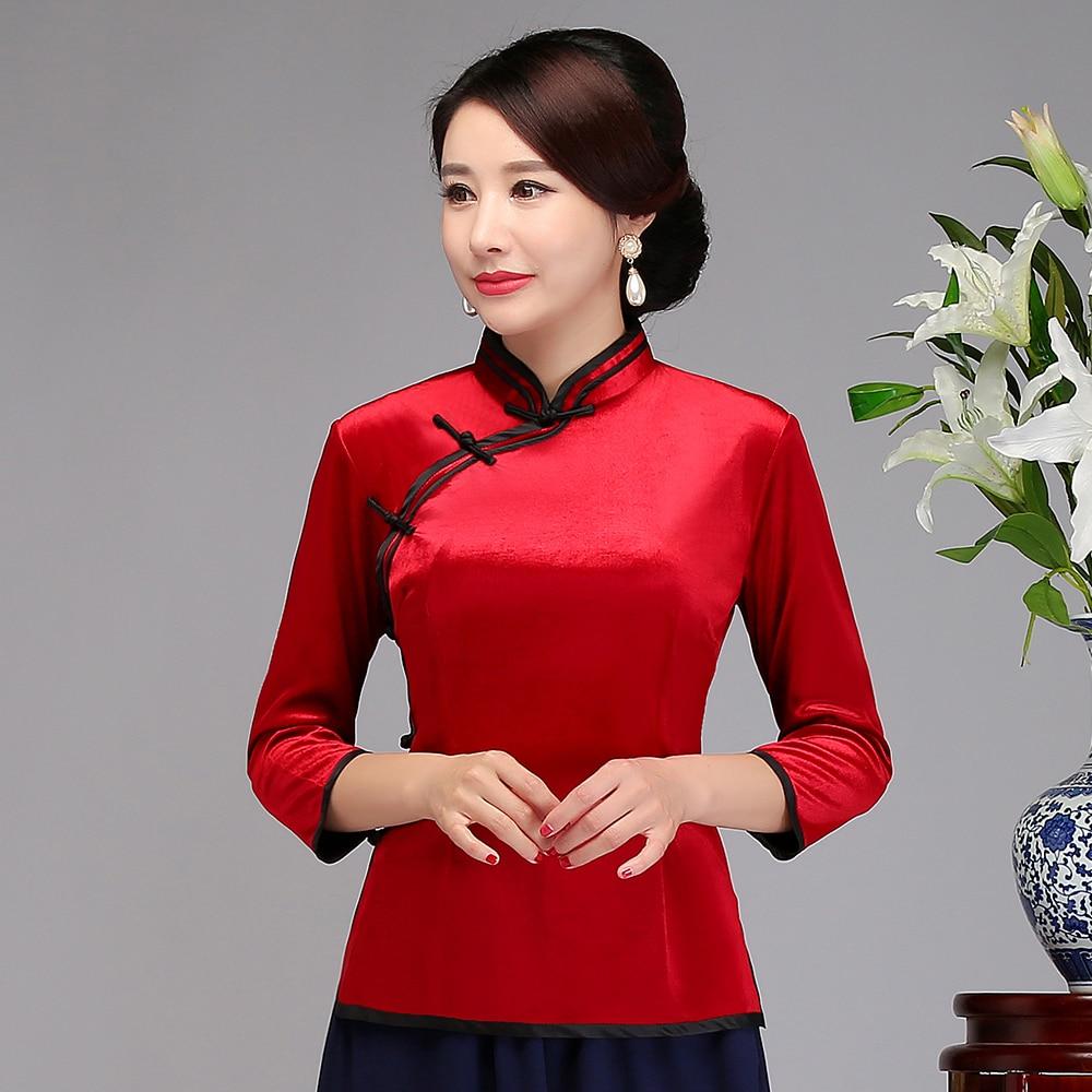 Ropa Oro Flower Casual Tang Vintage Mujer Mujeres Blusa Top azul Tradicional rojo negro Camisa Azul De Sólido Black Mejorado Terciopelo Clásico C6OTqt