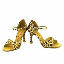 YOVE Dance Shoe Leopard Women's Latin/ Salsa Dance Shoe 3.5″ Flare High Heel More Color w1610-7