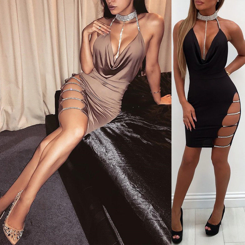 <font><b>2018</b></font> <font><b>Sexy</b></font> Bandage <font><b>Bodycon</b></font> <font><b>Night</b></font> Party Short Mini <font><b>Dress</b></font> Summer Women <font><b>Sleeveless</b></font> <font><b>Club</b></font> <font><b>Dress</b></font> image