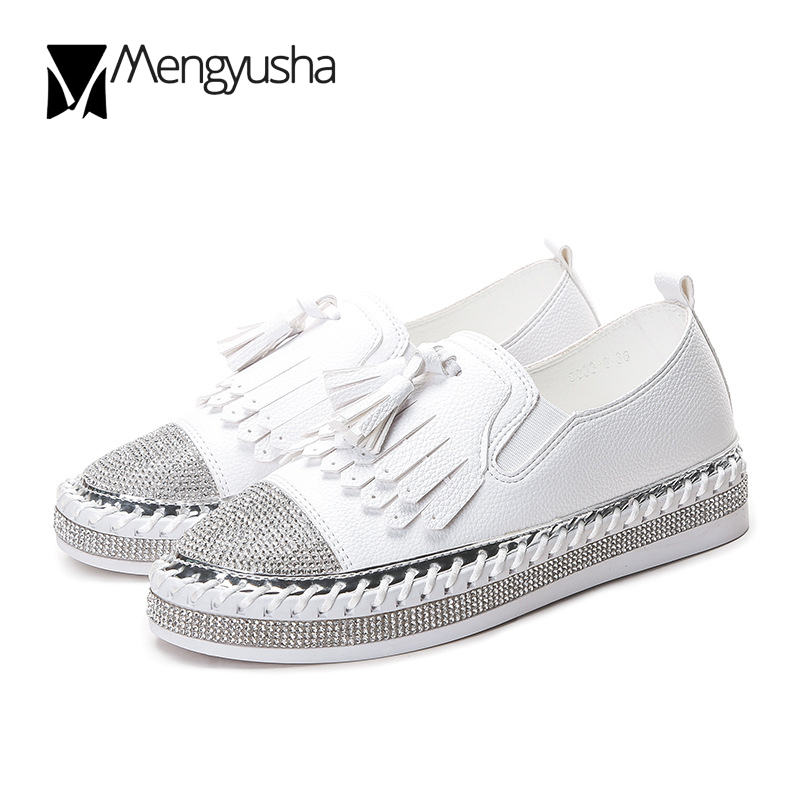 Detail Feedback Questions about Tassel Bling Loafers Women High Quality Spring  ladies flat shoes Crystal Round toe Mocasines mujer Cozy Creepers zapatos  ... b2d8b8f792b8