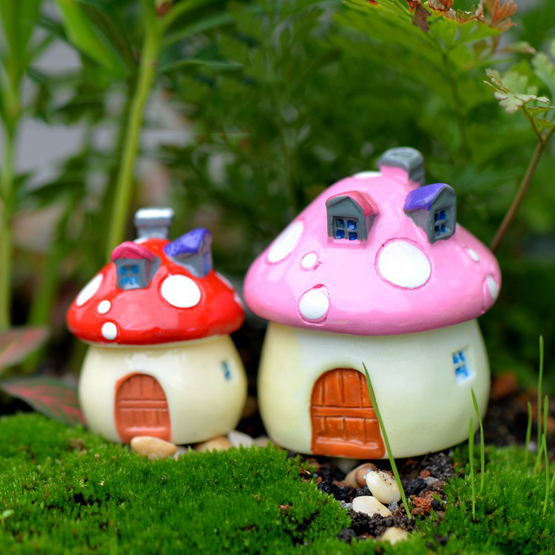 Kawaii Mini Mushroom House Garden Decoration Resin Crafts Garden