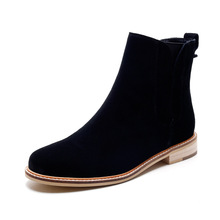 Women Flat Ankle Boots Fall Winter Casual 2016 Genuine Leather Martin Black Boots Zip Female Short Boots Shoes