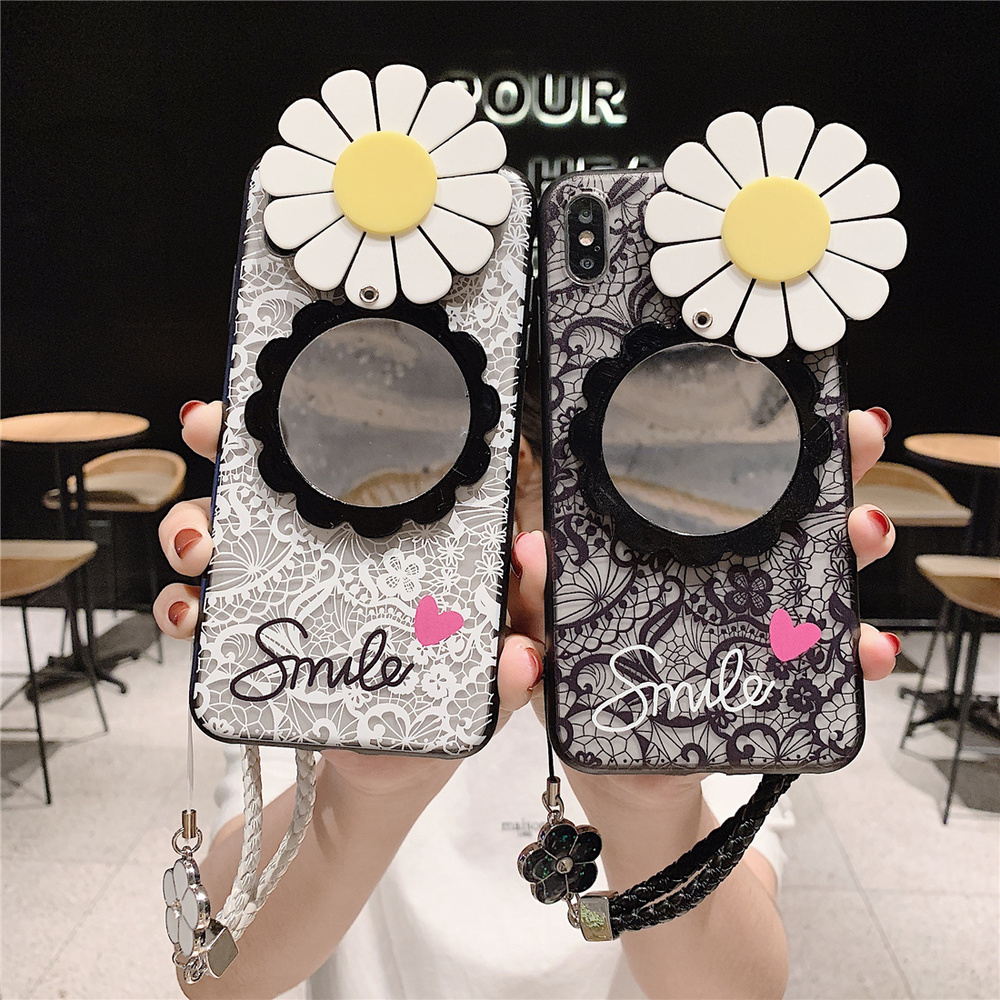Looking Glass for Huawei P20 Mate 20 Lite P30 P10 Mate 10 Pro Case Rotatable Sun Flower Lace Rope Hand Strap Mirror Smile Cover in Fitted Cases from Cellphones Telecommunications