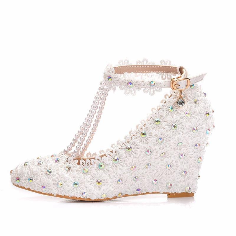 หวานสายคล้องข้อเท้ารองเท้าผู้หญิง Wedges ส้นสูง Beading สายคล้อง Bowknot งานแต่งงานเจ้าหญิงปั๊มสีขาว Plus ขนาด XY A0306-ใน รองเท้าส้นสูงสตรี จาก รองเท้า บน   1