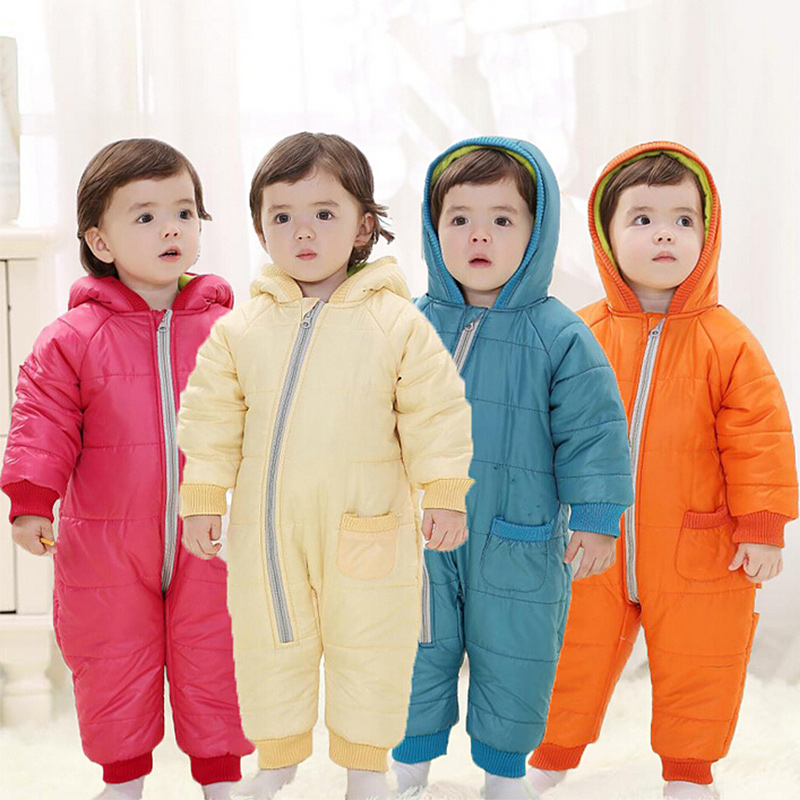 Newborn Baby Boy Clothes Winter Jumpsuits Baby Girl Rompers Long Sleeves Jacket Snow Wear Infant Snowsuits for Kids Clothes 2016 newborn baby clothes winter long sleeves with feet baby boy girl clothes babies overalls ropa de bebe infant product baby romper