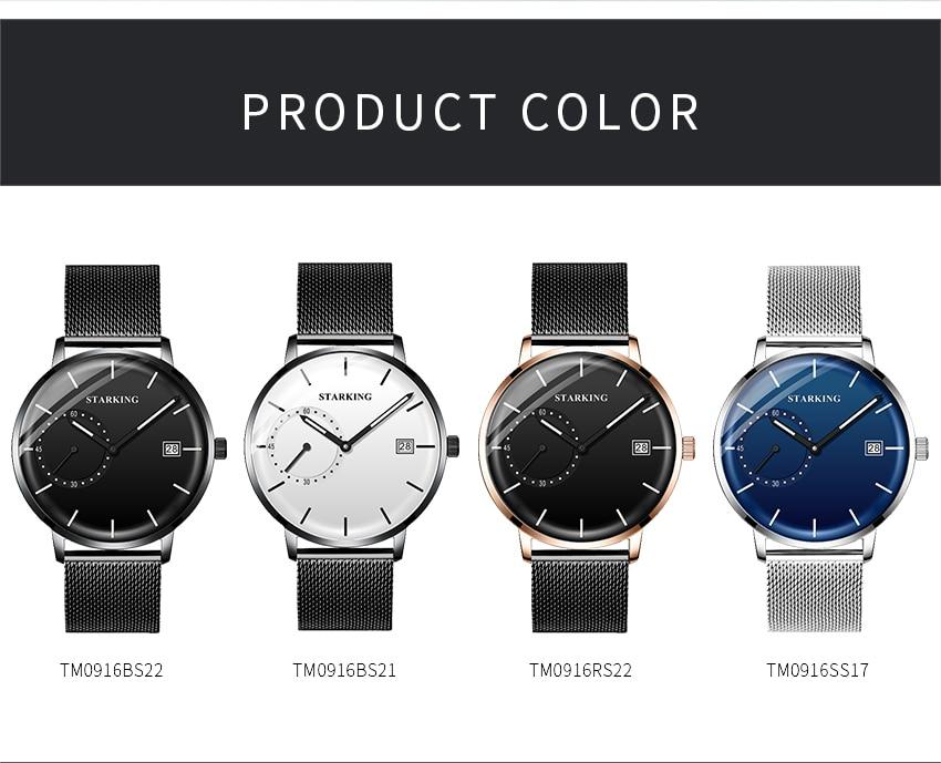 HTB1aEUcd8Gw3KVjSZFwq6zQ2FXac STARKING Dress Men Watch Steel Mesh Band Quartz Analog Wristwatch 3ATM Waterproof Curved Glass Blue Male Clock Relogio Masculino