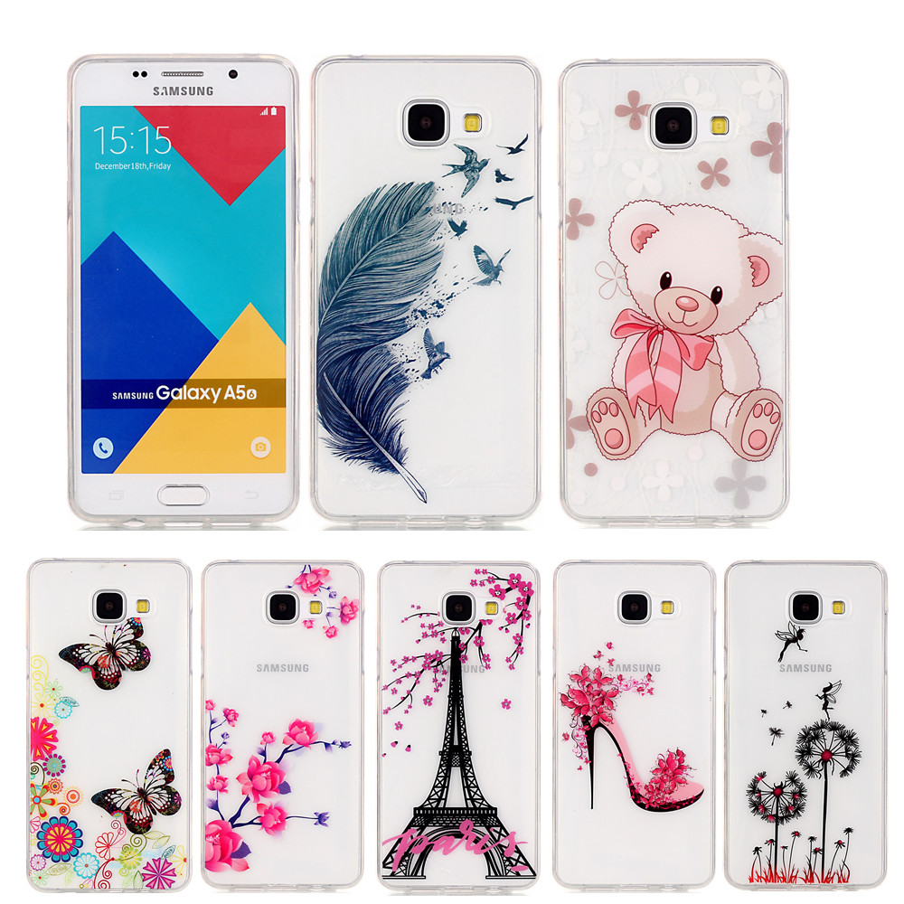 Pu leather case for samsung galaxy a7 2016 a710 peacock feather - For Coque Samsung Galaxy A5 2016 Case Butterfly Feathers High Transparency Silicone Cover For Funda Samsung