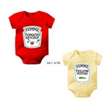Culbutomind Yummz Tomato Ketchup Yellow Mustard Red and Yellow Bodysuit Baby Boy