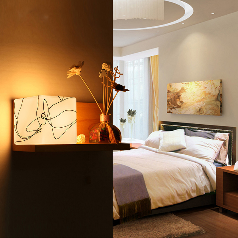 Bedside Wooden wall lamp American Style Wall Light Modern wall lamp bedside lamps Corridor lights solid wood Wall Sconce Lights modern wooden led wall lamp bed room bedside natural solid wood white glass bedroom bedside aisle corridor entrance wall sconce