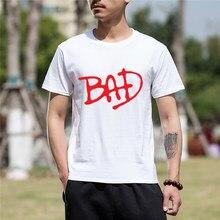 Newest Fashion Men Clothing Funny Cotton Short Sleeve Tshirt Michael Jackson  Bad Font Print Funny T a09804350ca2