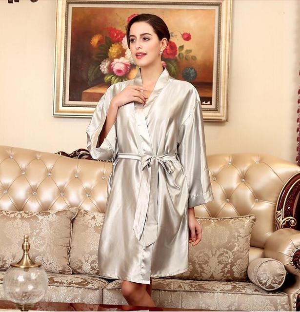 Marca Macio Anti real silk Nightdress Robes Nightdress Bath Robe Roupão de Banho Pijamas Nightgowns Mulheres Primavera Outono Estilo WP131