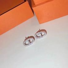 Brand Pure 925 Sterling Silver Jewelry For Women Small Lock Earrings H Horseshoe Earrings Cute Lock Stud Earrings Party Jewelry
