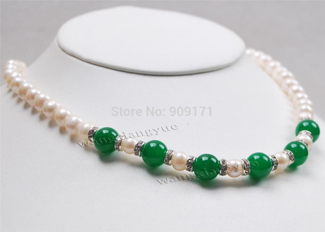 FREE SHIPPING>>@@@ >>>7-8MM white Akoya Pearl & Green Jade (10MM) Round Beads Necklace 18""