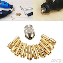 цена на 10Pcs 0.5-3.2mm Brass Drill Chuck Collet Bits 4.3mm Shank For Dremel Rotary Tool  Dls HOmeful