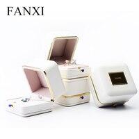 Fanxi liberan el envío nuevo blanco de lujo PU de cuero de seda insertar joyería cajas con cerradura boda anillo collar regalo del brazalete caja