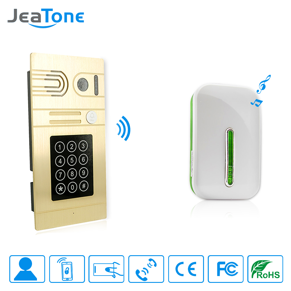 JeaTone Gold Passwords IC Card And Wifi HD Outdoor Camera Wireless Door Chime Receiver Unlock Door