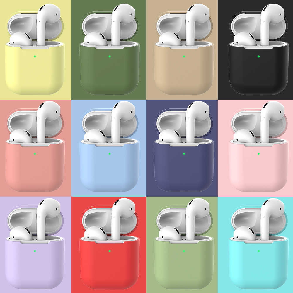 Miękki futerał silikonowy do Apple Airpods 2, odporna na wstrząsy słuchawki ochronna skrzynki pokrywa wodoodporne słuchawki akcesoria