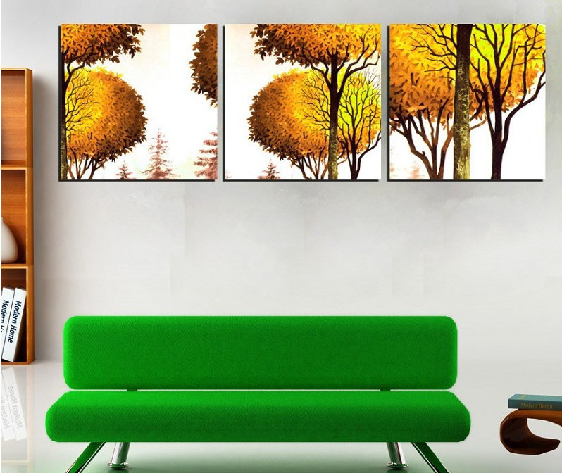 Modern Landscape Yellow Style Trees Art Painting For Dining Room Chinese Decor Hot Sale Free