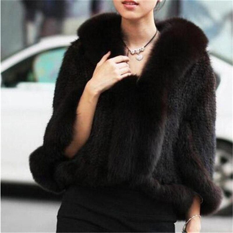 CHEWIES Women Natural Real Mink Fur Coat Poncho Shawl With Fox Collar Winter Knit Mink Fur Jacket Garment  2018 New Arrival 3.5