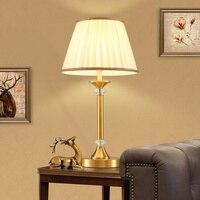 European art full copper Table Lamps American retro copper decorative wedding bedroom bedside desk lamp LO7135