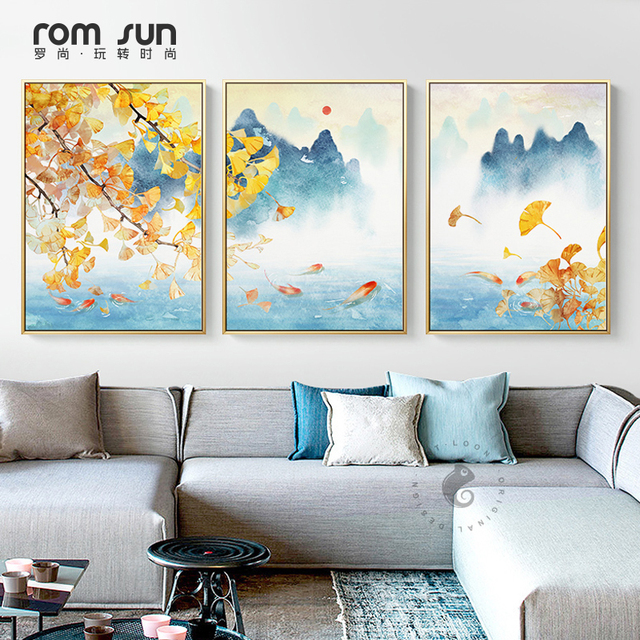 Triptych New Chinese Four Seasons Landscape Paintings Canvas Posters