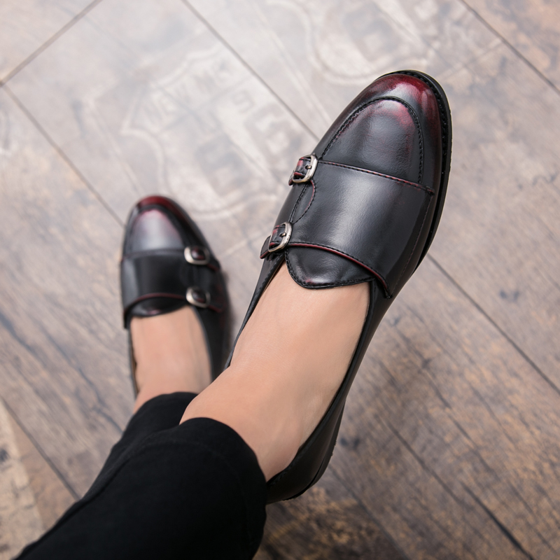 Pu brown Caoutchouc Hommes red Black De Mode Noir Luxe Slip Cuir Black Semelles Mâle Chaussures Marque En Rouge Occasionnel Mens Mocassins Brun Sur Black rqwRvrAx