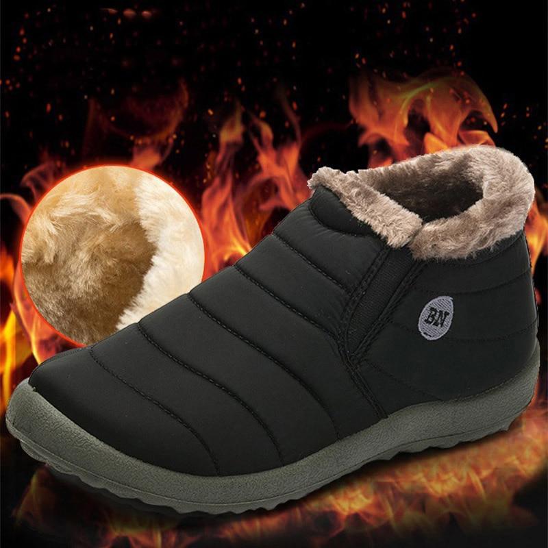 GNOME Non-slip Winter Plus Size 48 Snow Boots Men Plus Warm Fur Unisex Boots Safety Shoes Men Waterproof Keep Warm Snow Boots