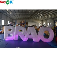 Sayok 1.2M High Outdoor Giant Inflatable BRAVO Letter Inflatable Letter with 17 Color LED Changing Lights for Party Decoration