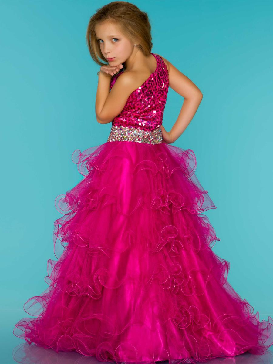 2015 Hot Pink Little Girl's Pageant Dresses Long One Shoulder Sequined Ruffles Organza Tiered Sequin Flower Girl - Weddings & Events Collection store
