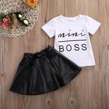 New 2PCS Toddler Kids Girl Clothes Set Summer Short Sleeve Mini Boss T-shirt Tops + Leather Skirt Outfit Child Suit 2017 new fashion toddler kids girl clothes set summer short sleeve mini boss t shirt tops leather skirt outfit child 2pcs suit