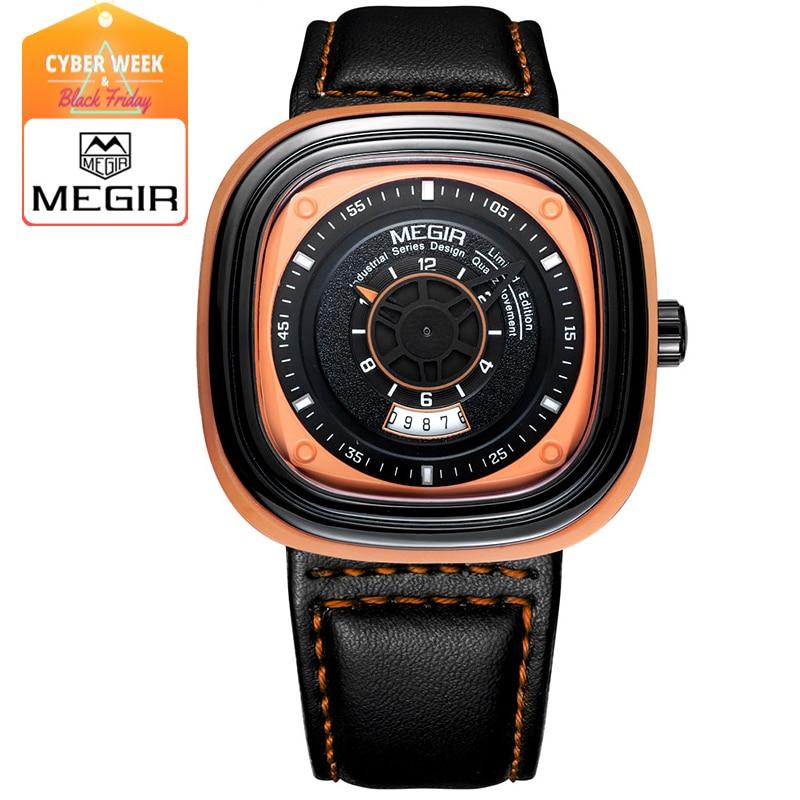 Megir Mens Watch Black Leather Strap Square Dial Quartz Watches Fashion Wristwatch with Calendar Date for