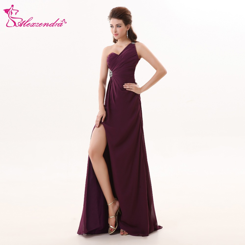 Alexzendra Purple Chiffon Long A Line Beach   Prom     Dresses   with Straps Custom Made One Shoulder   Prom   Gowns Party   Dress