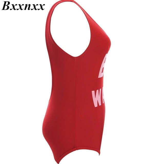 88cdaa3458c1d Online Shop Bxxnxx 1 PC BAE WATCH Worst Behavior One Piece Swimsuit Letter  Print Swimwear Women Red Black Bodysuit Backless Monokini