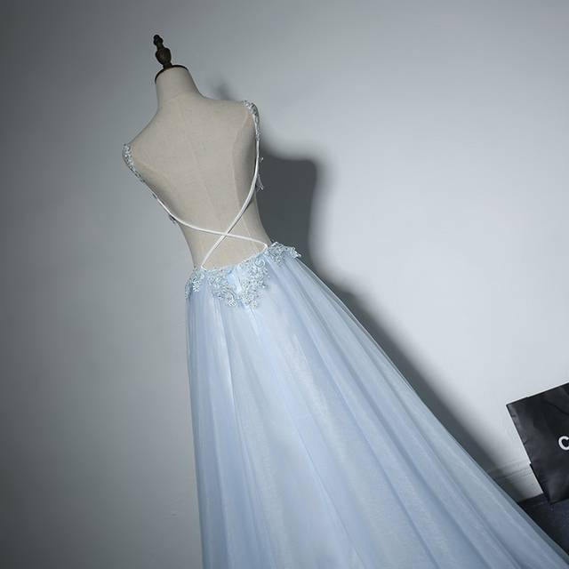 dc778e83ba8 Light Sky Blue Long Prom Dresses Sexy Backless 8th Grade Women Lace Formal  Evening Dresses for