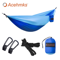 Acehmks Hammock With Tree Ropes Portable Ultralight Parachute Nylon Camping Hammock Swings Outdoor 270X140 CM With
