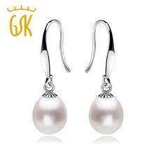 Gemstoneking earrings925 clásico 10-12mm perlas de agua dulce naturales pendientes de gota de plata para las mujeres joyería fina(China (Mainland))