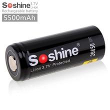 Soshine 3,7 В 5500 мАч 26650 Перезаряжаемые Батарея 26650 литий-ионный Батарея с защищенным PCB для светодио дный фонарик налобный фонарь