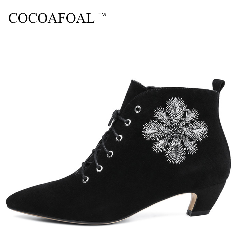 цена на COCOAFOAL Winter Black High Heeled Chelsea Boots Genuine Leather Lace Up Martin Boots Plus Size 33 Fashion Embroider Woman Shoes