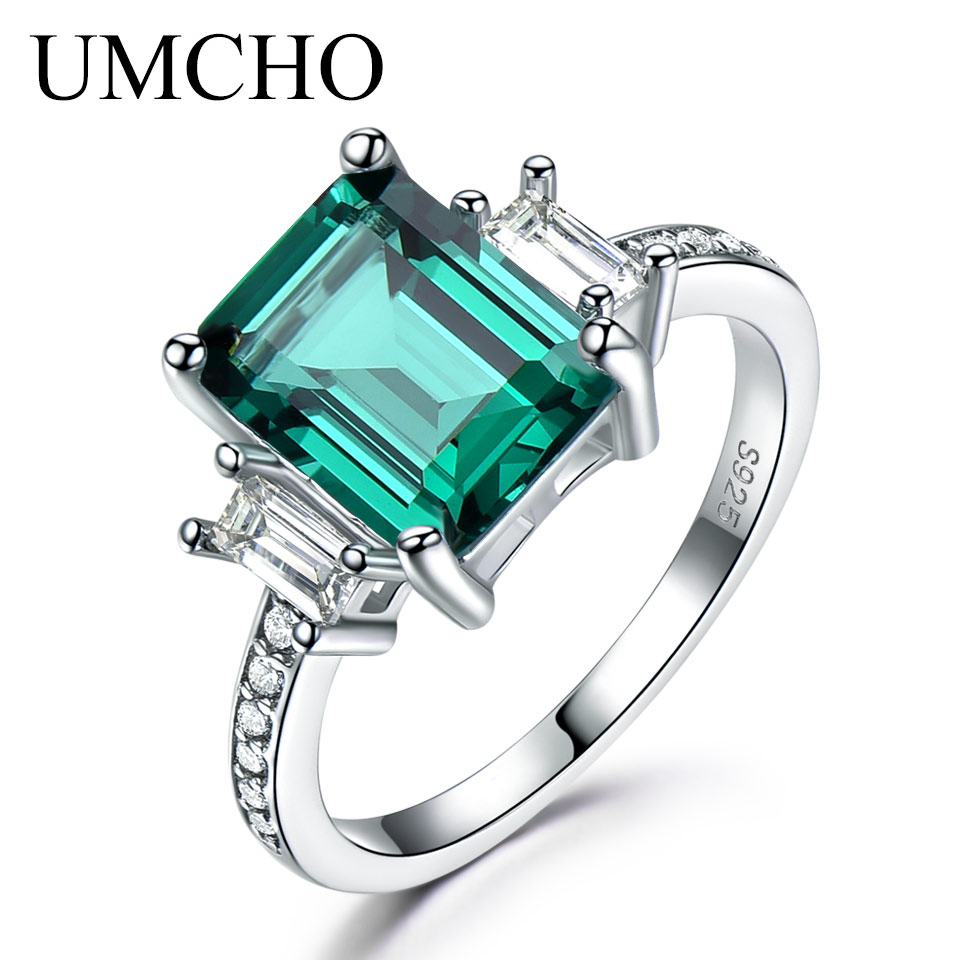 UMCHO Green Emerald 100% 925 Sterling Silver Rings For Women Promise Princess Cut Gemstone Ring Wedding Gift Fine Jewelry цена