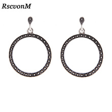 RscvonM Vintage Trendy Silver Color Hoop Earrings For Women Bohemian Statement Geometry Round Creole Earring Pierce Jewelry
