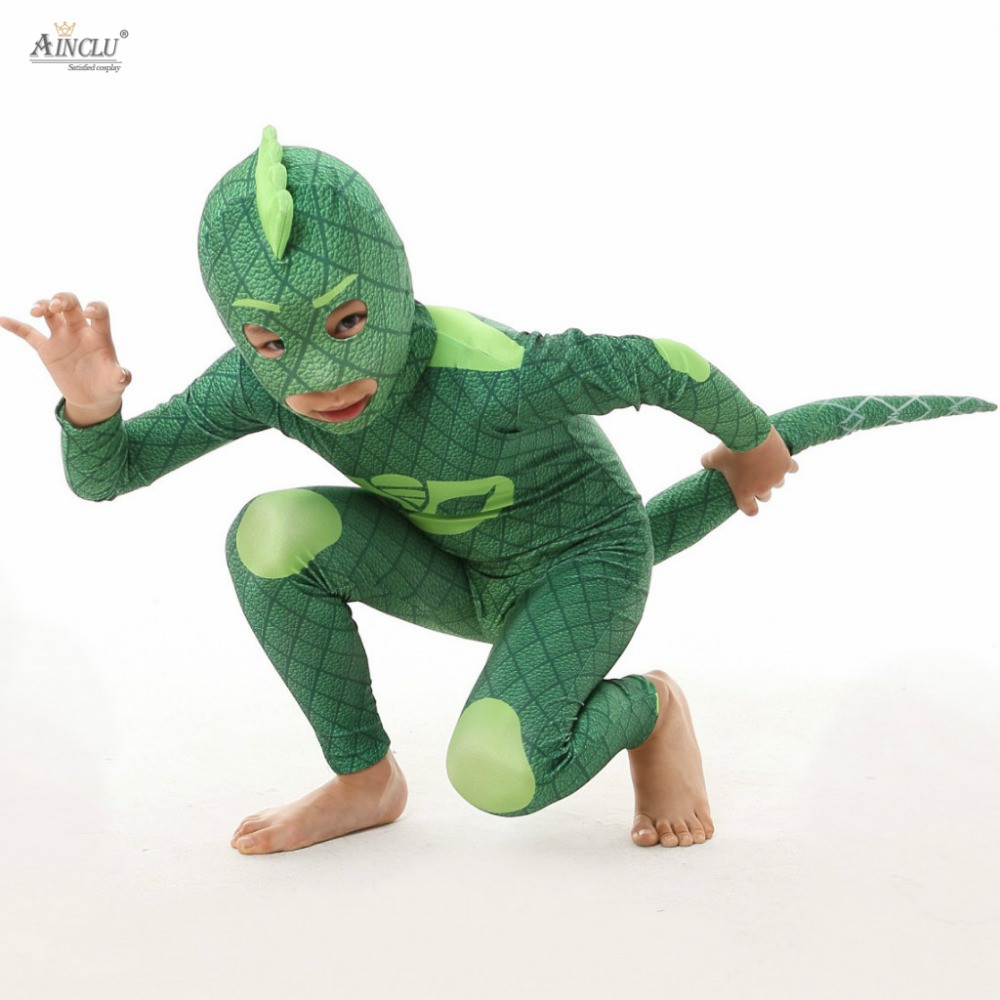 Ainclu Free shipping Les Pyjamasques cosplay PJ Mask hero Green Costume Birthday Party Dress Set for Halloween kid costume