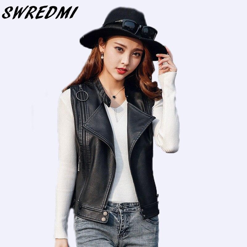SWREDMI 2018 Spring Women Sleeveless   Leather   Jacket Rivet Motorcycle   Leather   Vest Black Female Clothing Short Zipper Tops Vest