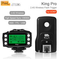 PIXEL King Pro For Sony 2.4G Wireless TTL HSS Transceiver Receiver Kit Flash Trigger For Sony A7 A7S A7R A7RII A6300 A65 A77II
