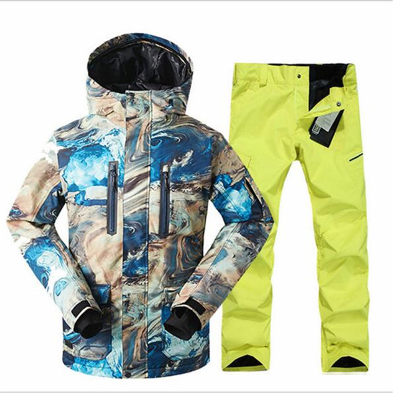 New Men Ski Suit Windproof Jacket+pants Warm Snowboard Thicken Clothes Pants Sets Jacket Multi Free Shipping GSOU SNOW