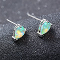 Water Drop Green/Blue/White Fire Opal Stud Earrings For Women Wedding Fashion Jewelry Female Gold Plated Studs Earring Ear0654