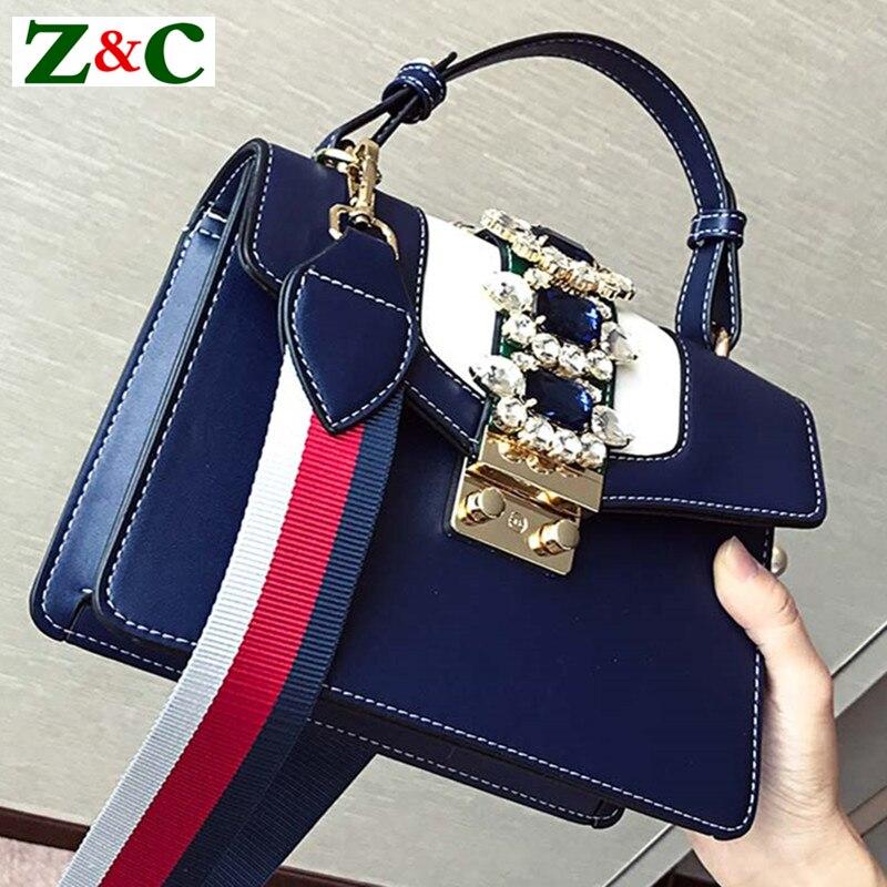 Luxury Brand 2018 Winter/spring Diamond Gem Women Leather Handbag Colorful Strap Shoulder Bags Famous Designer Handbag Big Totes