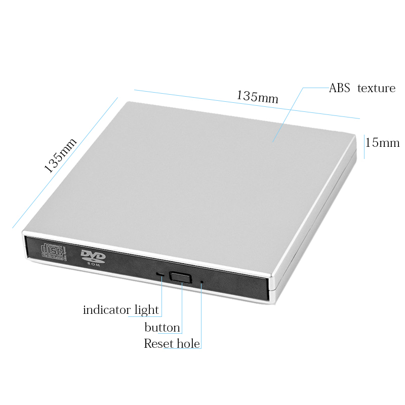 USB 2.0 DVD-ROM CD RW CD-ROM player External DVD Optical Drive Recorder Portable for Macbook Laptop Computer pc Windows 7/8